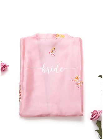 Non-personalized Charmeuse Bride Bridesmaid Mom Junior Bridesmaid Floral Robes Embroidered Robes
