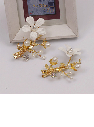 Romantic Alloy/Silk Flower Hairpins With Venetian Pearl (Set of 4)