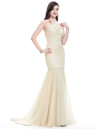 Trumpet/Mermaid Halter Sweep Train Tulle Prom Dress With Beading Flower(s) Sequins