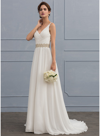 V-neck Sweep Train Chiffon Wedding Dress With Ruffle Lace Beading Sequins