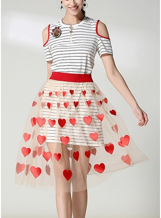 Cotton Blends With Sequins/Stitching/Crumple/See-through Look/Rhinestone Knee Length Dress