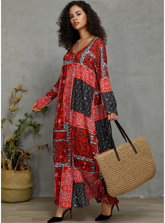 Cotton/Linen With Stitching/Print Maxi Dress