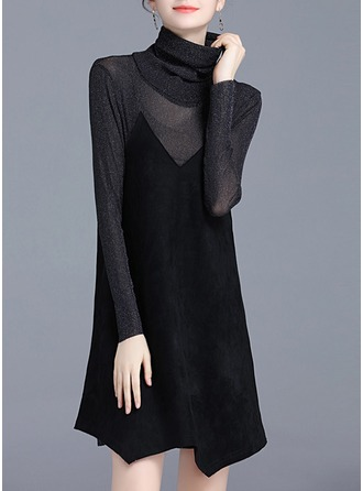 Polyester With Stitching Asymmetrical Dress