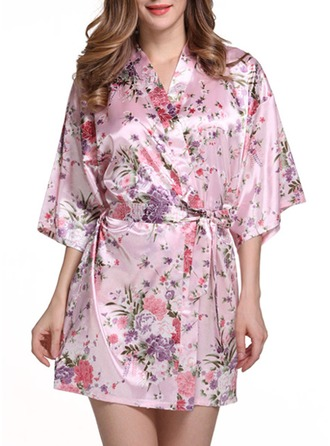 Bride Bridesmaid charmeuse With Short Floral Robes Kimono Robes