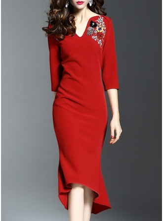 Polyester/Spandex With Stitching Asymmetrical Dress
