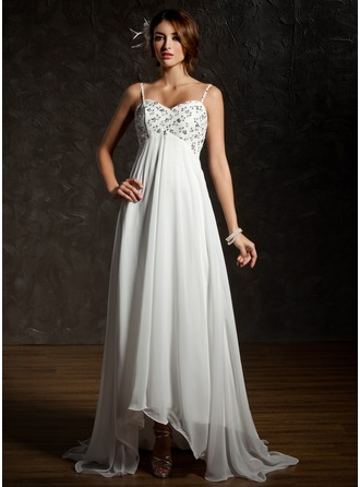 Empire Sweetheart Asymmetrical Chiffon Wedding Dress With Ruffle Lace Beading Sequins