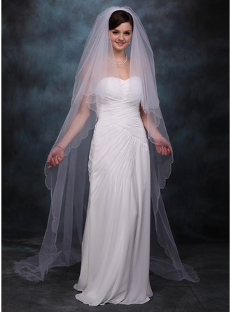 Two-tier Chapel Bridal Veils With Scalloped Edge