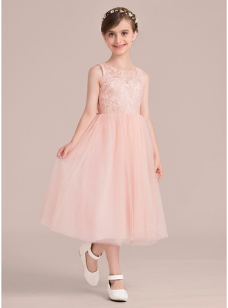 Scoop Neck Tea-Length Tulle Junior Bridesmaid Dress
