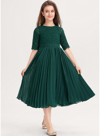 Scoop Neck Knee-Length Chiffon Lace Junior Bridesmaid Dress With Pleated