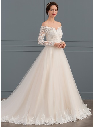 Off-the-Shoulder Chapel Train Tulle Lace Wedding Dress