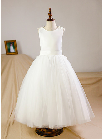 Floor-length Flower Girl Dress - Tulle Sleeveless Scoop Neck With Flower(s)