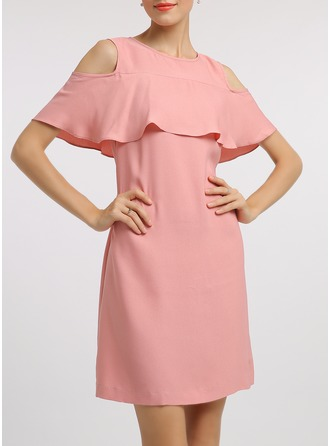 Polyester With Hollow Above Knee Dress