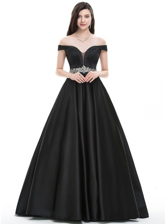 Ball-Gown Off-the-Shoulder Floor-Length Satin Prom Dress With Beading