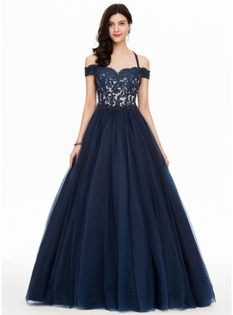 Ball-Gown/Princess Off-the-Shoulder Floor-Length Tulle Prom Dresses With Beading Sequins
