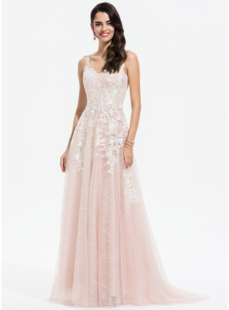 A-Line V-neck Sweep Train Tulle Prom Dresses With Lace