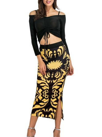 Ice Silk With Print/Knitting Midi Dress (Two Pieces )