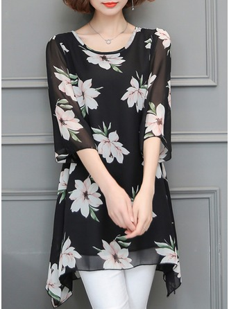 Chiffon Round Neck Floral 3/4 Sleeves Casual Blouses