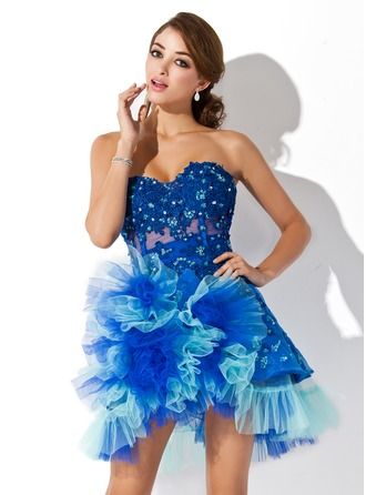 A-Line/Princess Sweetheart Asymmetrical Tulle Homecoming Dress With Beading Appliques Lace Cascading Ruffles