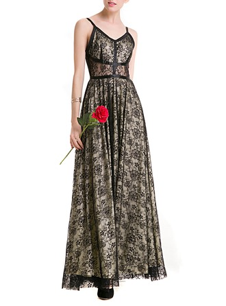 Lace/Organza mit Hollow Maxi Kleid
