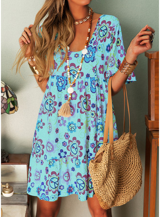 Floral Print Shift Round Neck 1/2 Sleeves Midi Casual Vacation Tunic Dresses