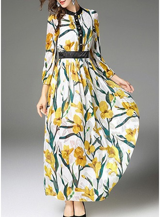 Polyester With Print/Crumple Maxi Dress