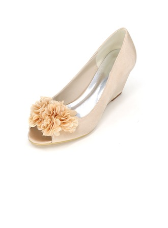 Women's Satin Stiletto Heel Peep Toe Pumps Wedges With Flower