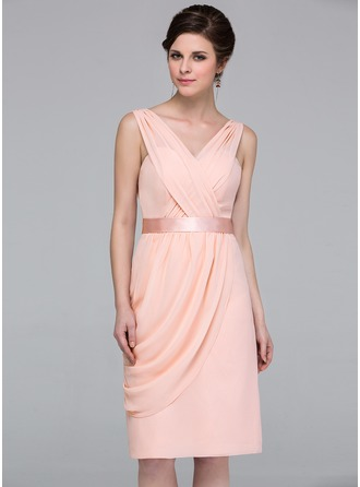 Column Knee-length Chiffon Bridesmaid Dress with Side Draping