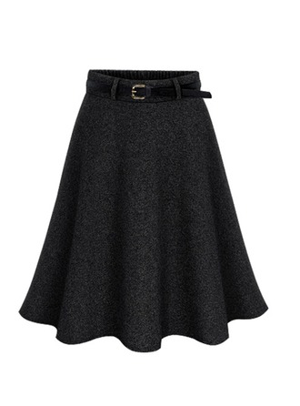 Wool Plain Above Knee A-Line Skirts