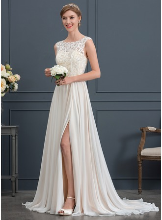 Scoop Neck Sweep Train Chiffon Wedding Dress With Split Front