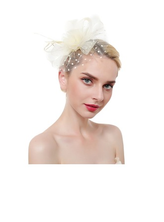 Ladies' Eye-catching/Charming/Romantic Feather/Net Yarn With Feather Fascinators