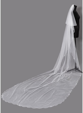 Two-tier Beaded Edge Chapel Bridal Veils With Faux Pearl