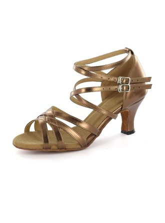 Women's Leatherette Heels Latin Party With Ankle Strap Dance Shoes