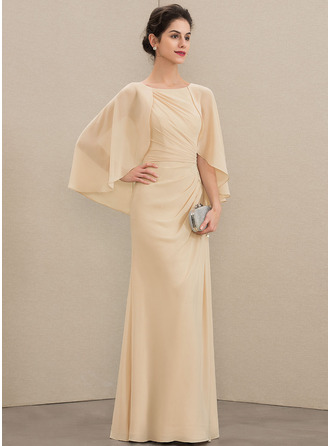 Scoop Neck Floor-Length Chiffon Mother of the Bride Dress With Ruffle Beading Sequins