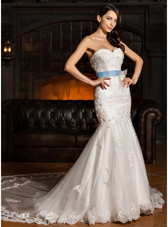 Trumpet/Mermaid Sweetheart Royal Train Tulle Wedding Dress With Beading Feather Appliques Lace Flower(s) Sequins