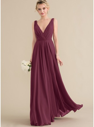 V-neck Floor-Length Chiffon Prom Dresses With Ruffle