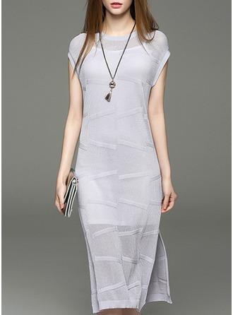 With Stitching Midi Dress