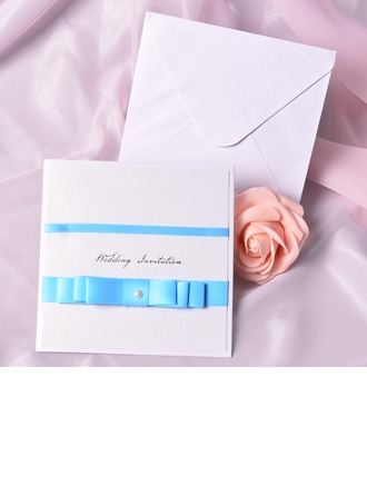 Classic Style Wrap & Pocket Invitation Cards With Bows