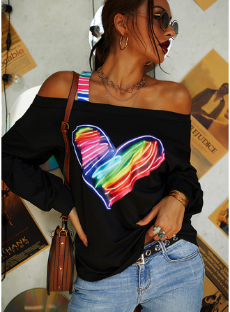Regular Cotton Blends One Shoulder Print Heart Fitted Blouses