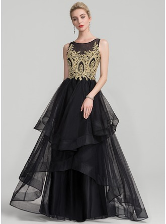 A-Line/Princess Scoop Neck Floor-Length Tulle Evening Dress With Beading Cascading Ruffles