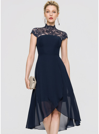 High Neck Asymmetrical Chiffon Cocktail Dress