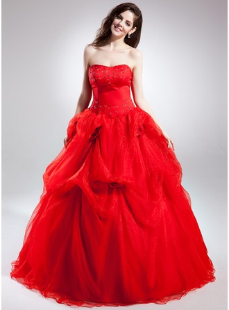 Ball-Gown Sweetheart Chapel Train Organza Quinceanera Dress With Ruffle Beading Flower(s)