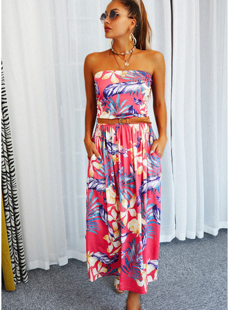 Floral Print A-line Strapless Sleeveless Maxi Casual Skater Dresses