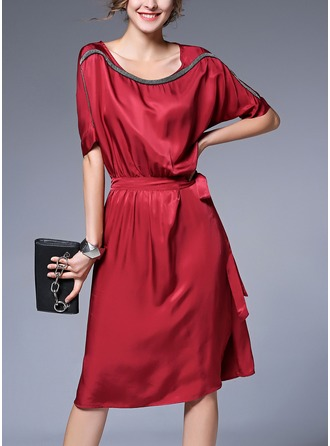 Silk With Stitching Knee Length Dress