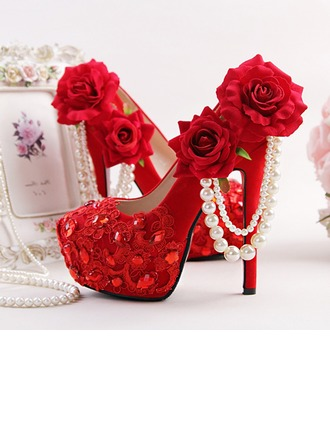 Women's Suede Stiletto Heel Platform Pumps With Rhinestone Ribbon Tie Flower