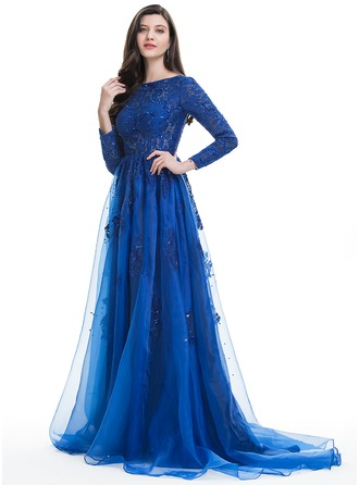 A-Line/Princess Scoop Neck Sweep Train Organza Prom Dresses With Beading Sequins