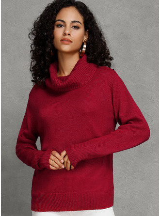 Solid Turtleneck Pullovers Sweaters