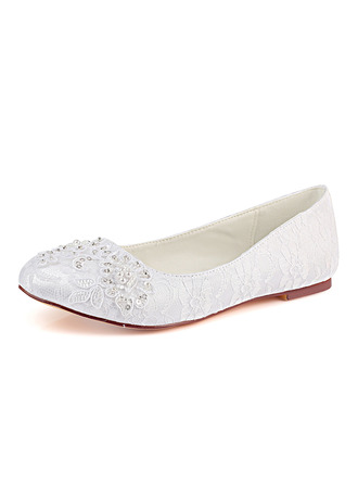 Women's Lace Silk Like Satin Flat Heel Closed Toe Flats With Sequin Stitching Lace Pearl