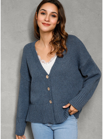 Cable-knit Chunky knit Solid Polyester V-neck Cardigans Sweaters