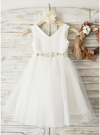 A-Line/Princess Knee-length Flower Girl Dress - Satin/Tulle Sleeveless V-neck With Bow(s)/Rhinestone