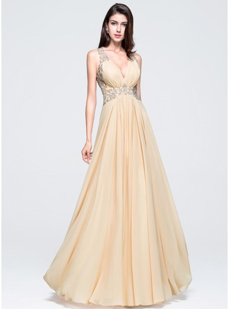 V-neck Floor-Length Chiffon Prom Dresses With Beading Appliques Lace Sequins